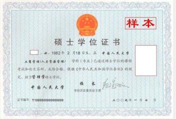 中国人民大学硕士学位证书