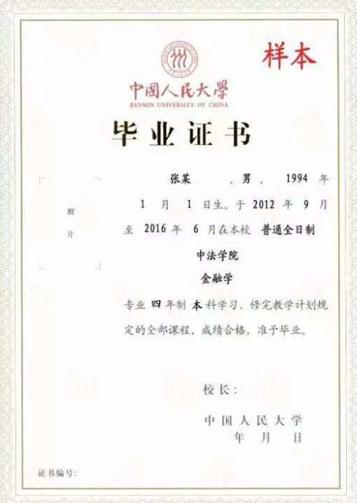 中国人民大学毕业证书