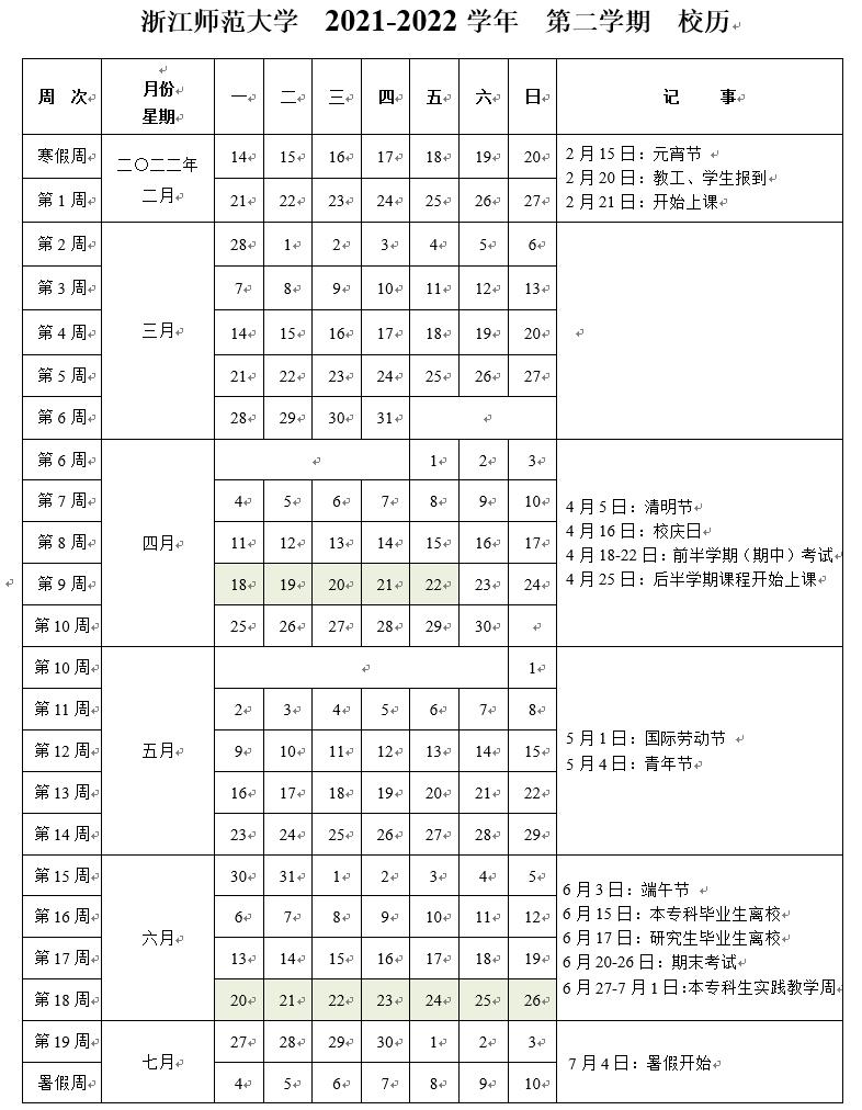 浙江师范大学研究生院2021-2022学年校历(第二学期)